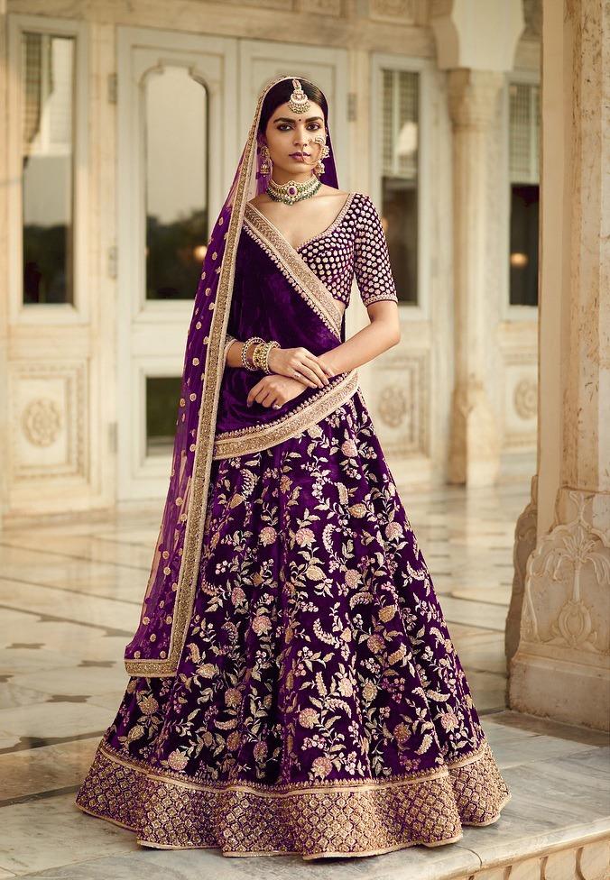 velevt lehenga for an Indian bride