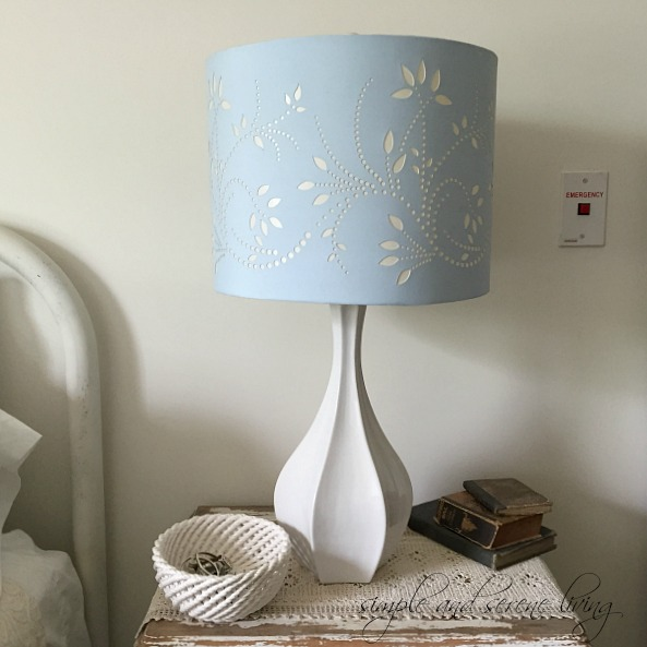 blue white cottage lamp