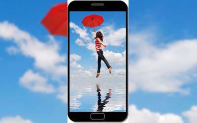 Fille s'Envole avec son Parapluie - Fond d'Écran en QHD pour Mobile