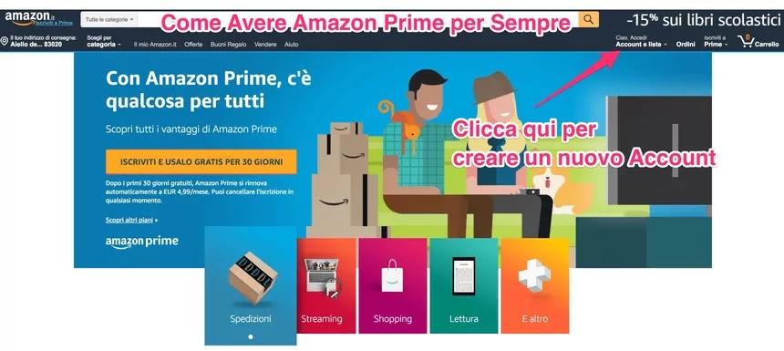 schermata di Amazon Prime e pulsante per creare un nuovo account gratis