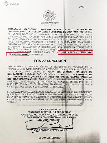Exhiben concesiones de taxis otorgadas a Mara Lezema y sus familiares por parte de Roberto Borge