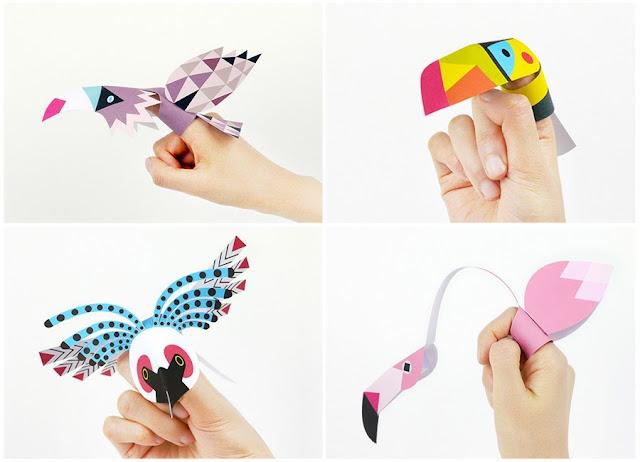 Marionetas de dedo de aves - Juguetes de papel para niños