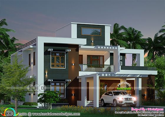 2587 square feet modern box model house