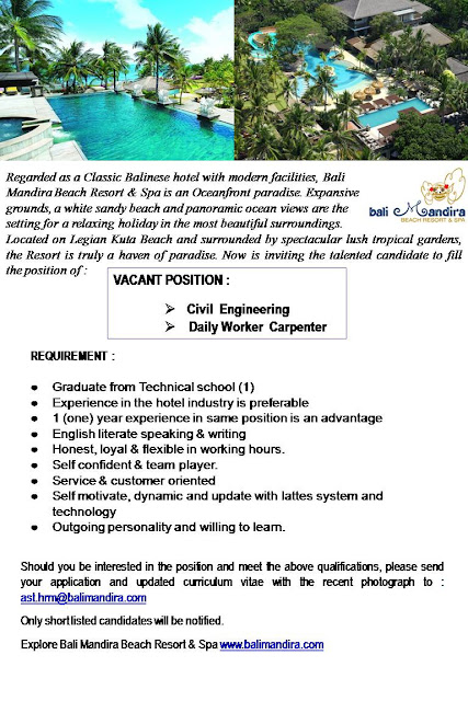 "Hotel Career - Vacant Position ""Civil Engineering, Carpenter"" at Bali Mandira"