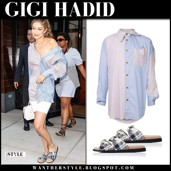 Gigi Hadid in blue and pink striped shirt and plaid sandals dear frances model style september 4