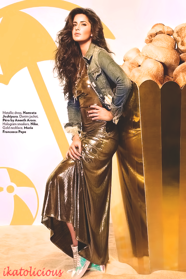 ,  Katrina Kaif Golden Dress hot Pics from Vogue Magazine December 2014 Edition