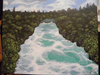 Rio Taupo en Nueva Zelanda Jorge Marin artista plástico Colombia