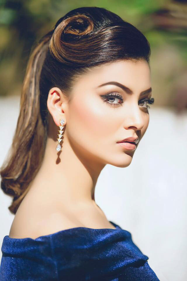 Urvashi Rautela in Royal Blue Velvet Dress