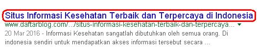 Meta Title SEO - Judul Halaman Posting di Mesin Pencari google