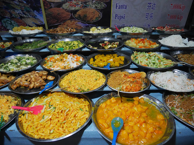 various vegetarian dishes at the Luang Prabang Night Market