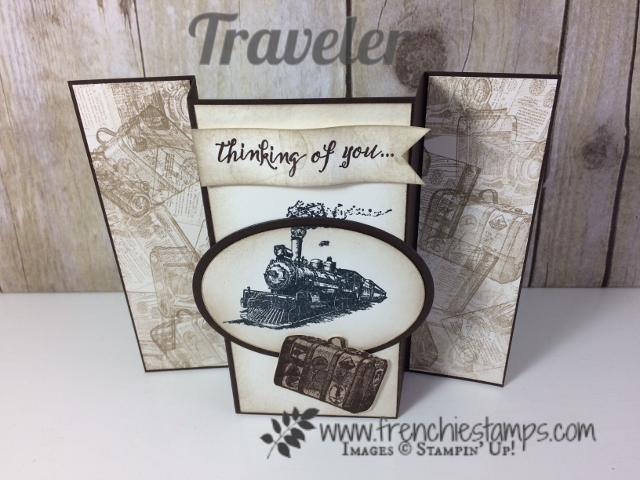 Vintage Masculine card, Gated Fold,  Traveler Stampin'Up!, Frenchiestamps,