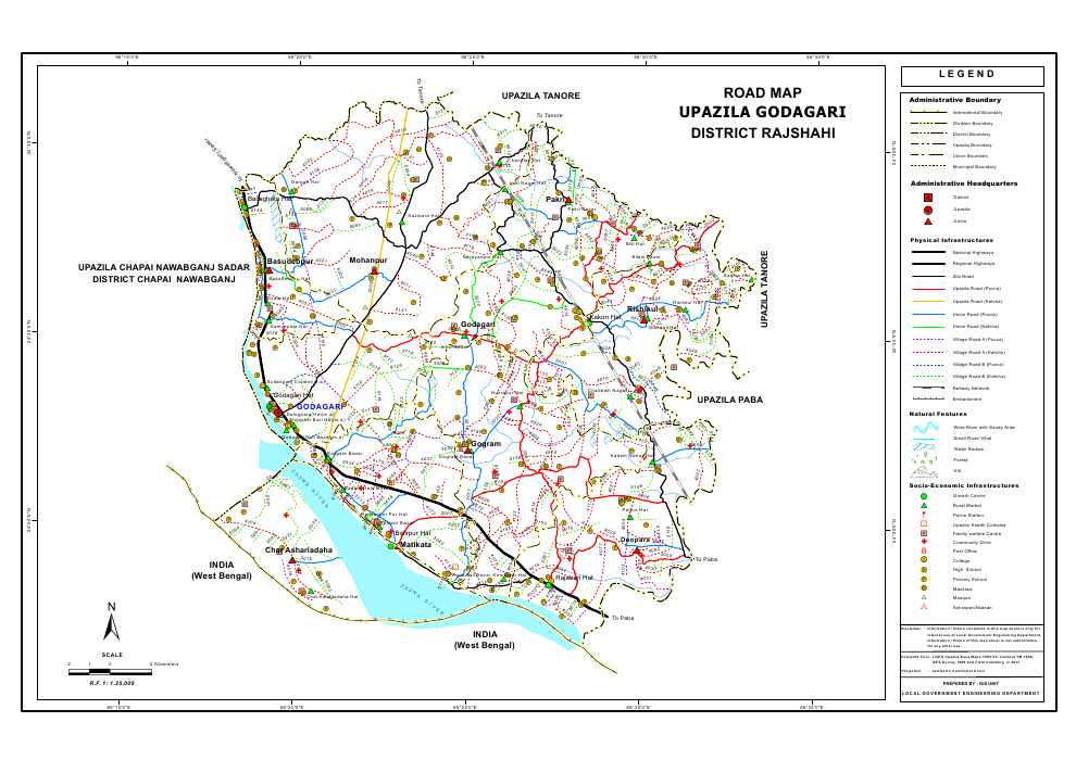 Godagari Upazila Road Map Rajshahi District Bangladesh