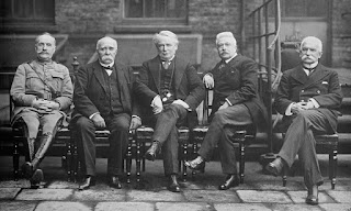 At the Versailles summit: Sonnino is on the right with Marshall Foch and premier Clemenceau of France, British PM David Lloyd George and Italy's Vittorio Orlando