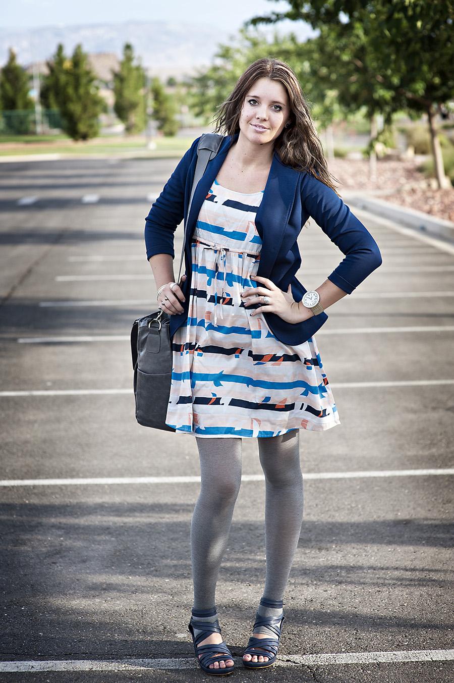 Blue Blazer, Striped Dress