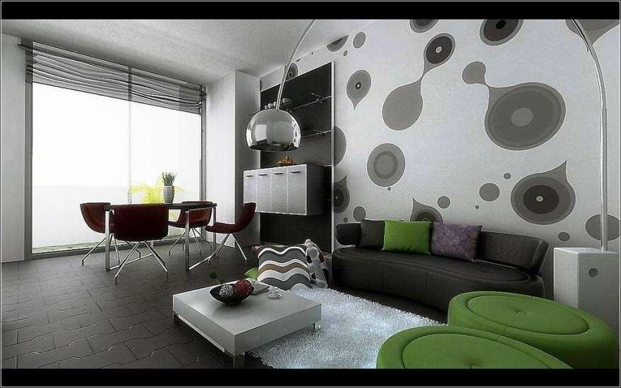 Desain Wallpaper Dinding Hitam Putih Untuk Ruang Tamu Modern