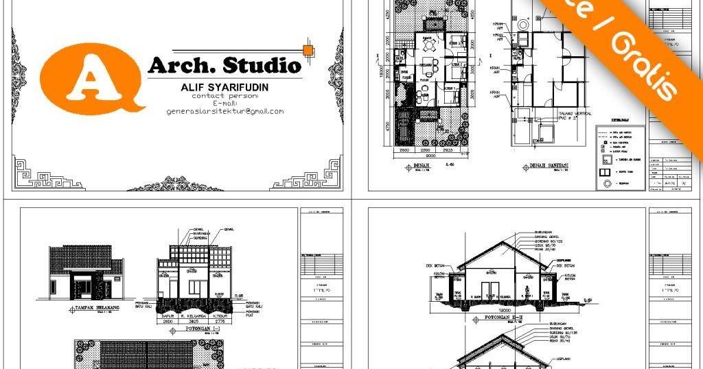 Aarchstudio Download Gambar Kerja Rumah Type 70 Dwg Pdf Gratis