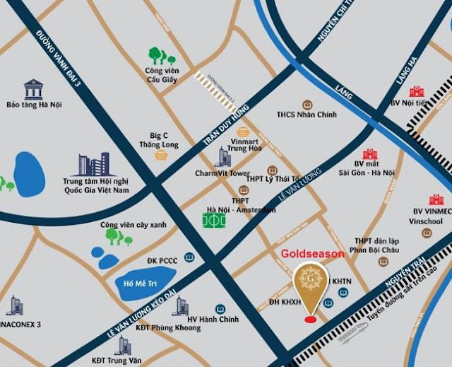 Vị trí chung cư Goldseason TNR 47 Nguyễn Tuân