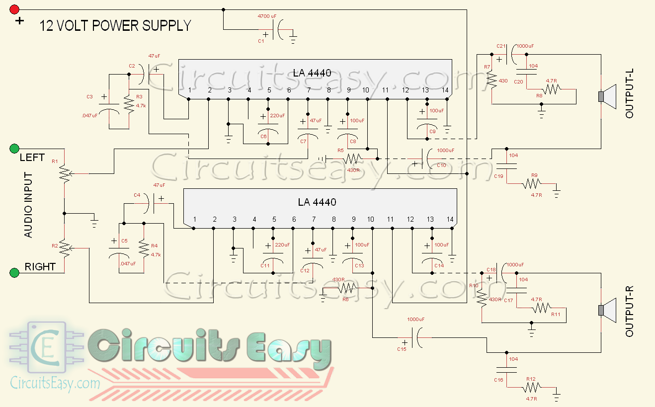 4440 double ic audio amplifier circuit in stereo mode [ 1318 x 819 Pixel ]