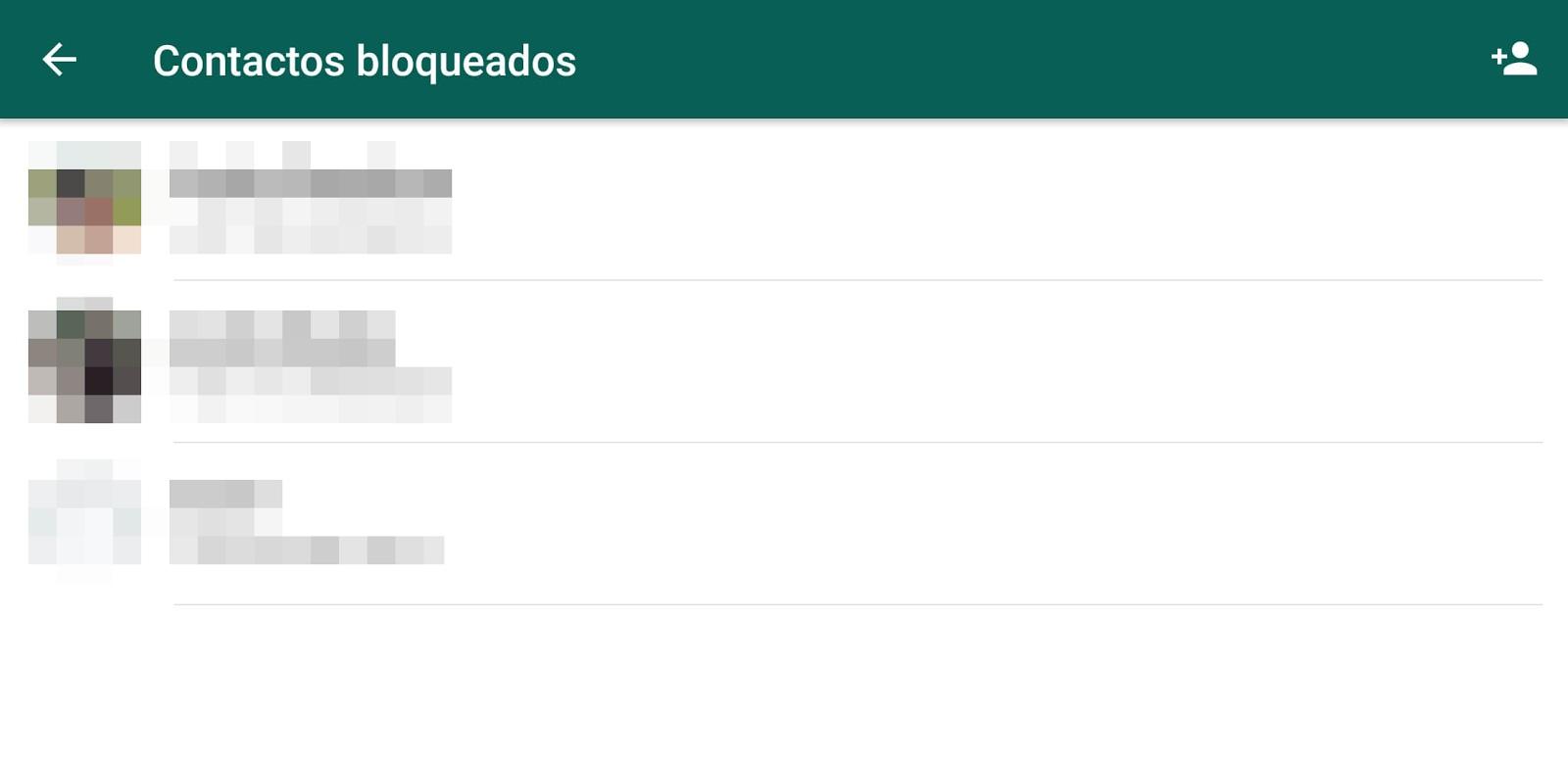 La lista de contactos bloqueados en WhatsApp