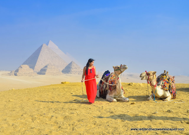 Lady in Giza Pyramids Egypt