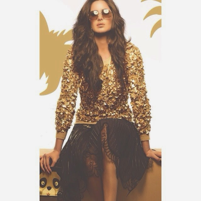 vogue , katrina kaif ,,  Katrina Kaif Golden Dress hot Pics from Vogue Magazine December 2014 Edition
