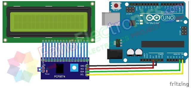 Skematik I2C PCF8574 LCD Module