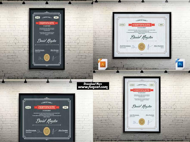 Certificates Bundle PSD شهادات تقدير مفتوحة قابلة للتعديل مجموعة رقم 4
