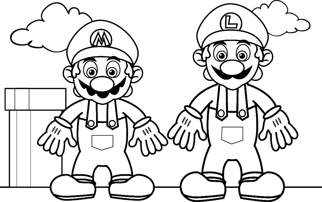 mario brothers coloring pages free - photo#7