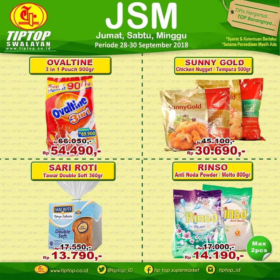TipTop - Promo Jumat Sabtu Minggu (JSM) Periode 28 - 30 Sept 2018
