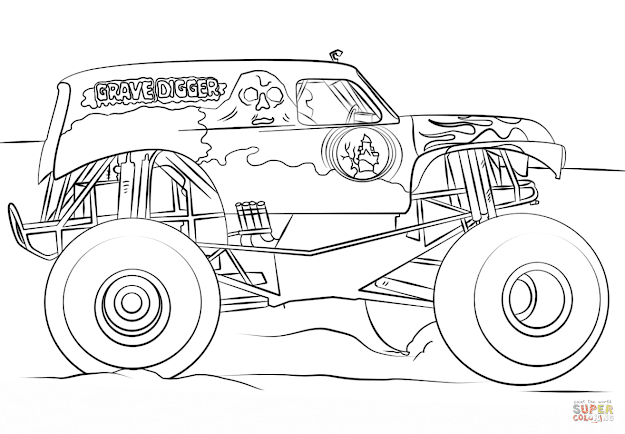 Click The Grave Digger Monster Truck Coloring Pages To View Printable  Version Or Color It Online Patible With Ipad And Android Tablets