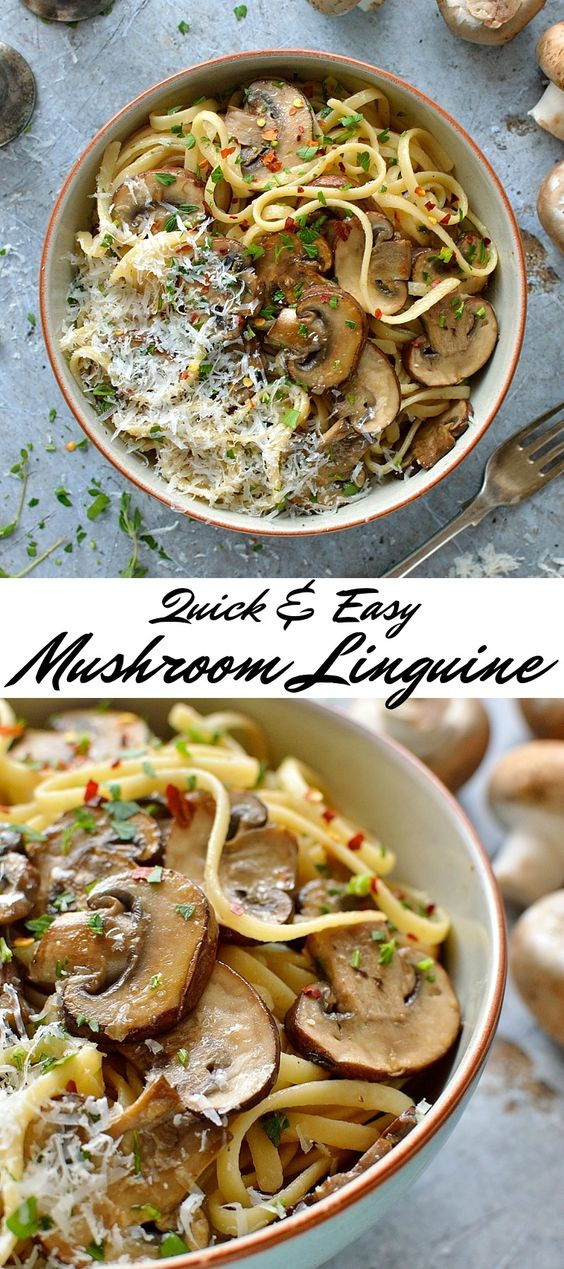 The Best Easy Mushroom Linguine