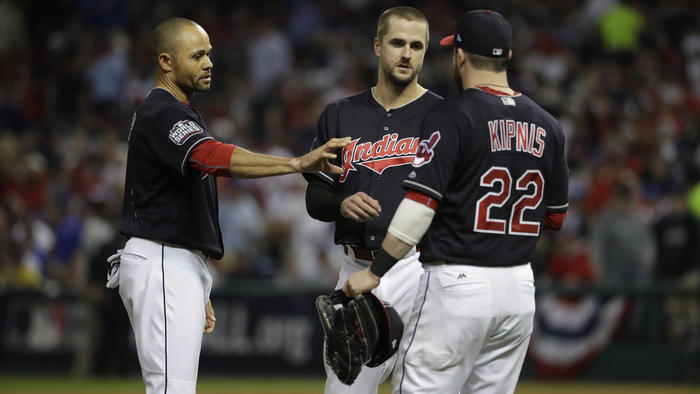 Cleveland Indians players are discussing