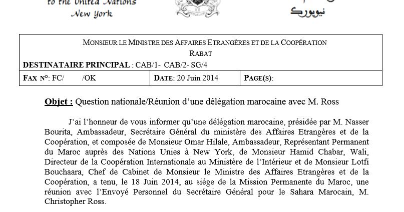 Compte rendu r union del gation marocaine avec ross 20 - Cabinet du ministre des affaires etrangeres ...