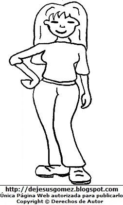 Dibujo de una mujer parada para colorear pintar imprimir. Dibujo de mujer de Jesus Gómez