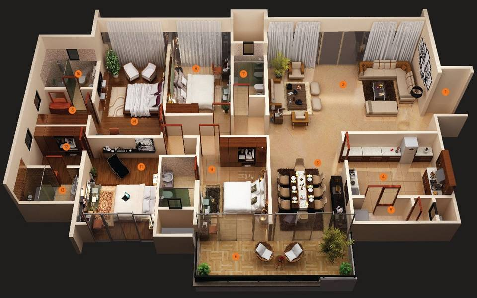 Modern 4 Bedroom House Plans