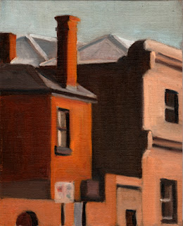 Oil painting of a red-brick Victorian double-storey building next door to another larger Victorian building.