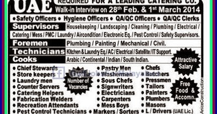 Vacancies for a Catering Company UAE - Indian E-Paper Jobs Ads