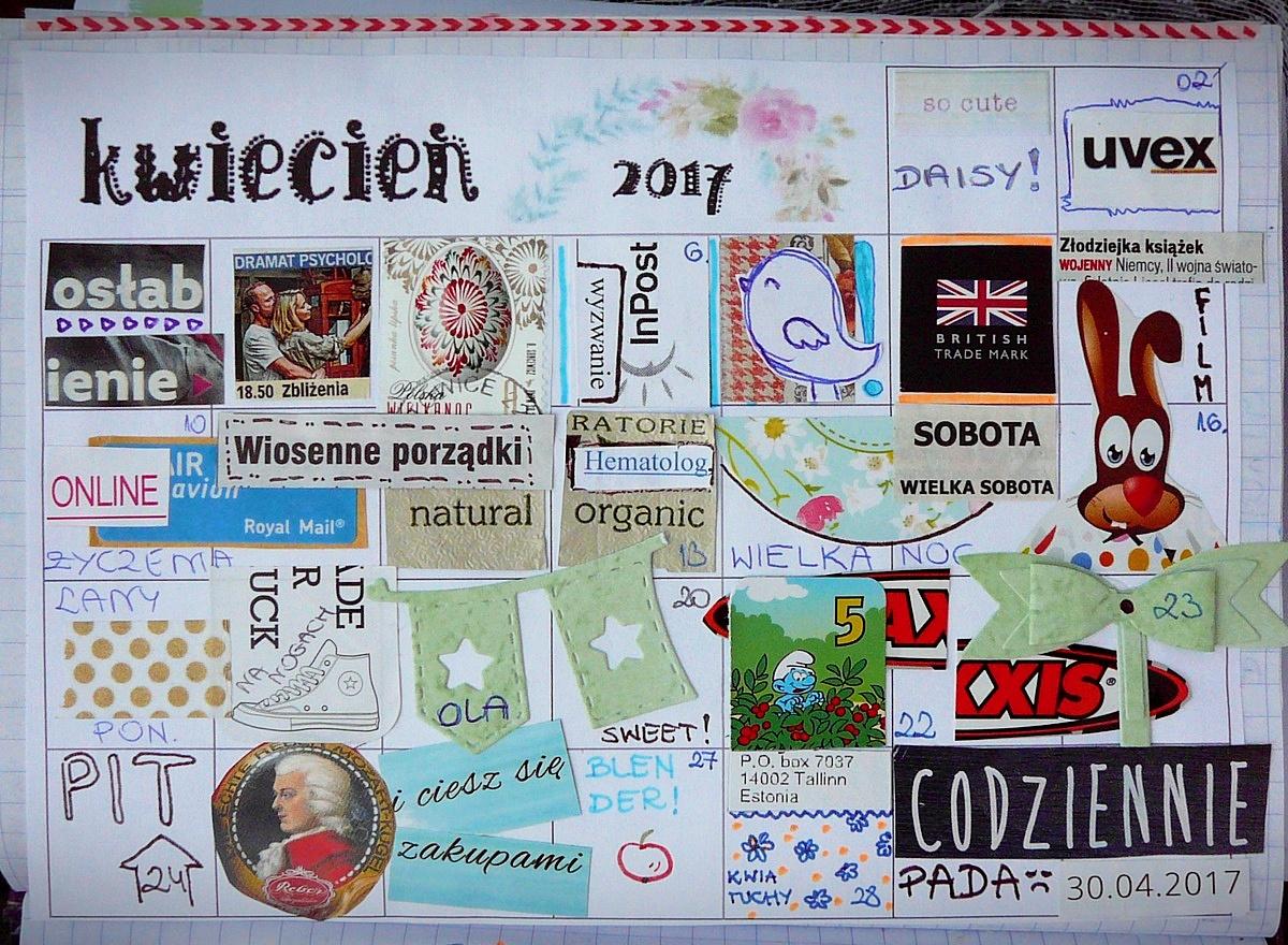 calendarz na kwiecień