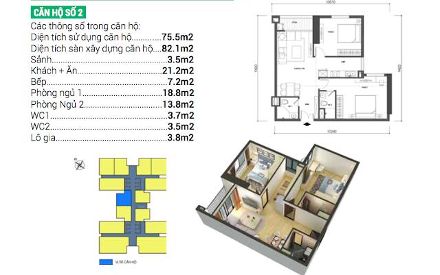 Thiết kế căn hộ số 02 Housinco Grand Tower