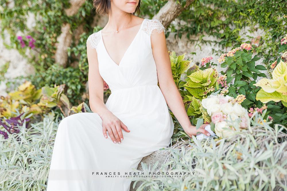 Detail of bride's wedding dress
