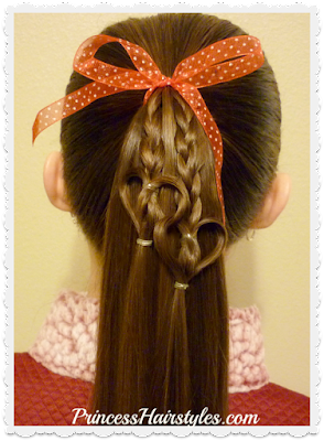 Cute heart hairstyle for Valentine's Day!