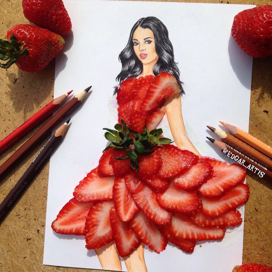 10-Strawberry-Edgar-Artis-Drink-Food-Art-Dresses-and-Gowns-Drawings-www-designstack-co