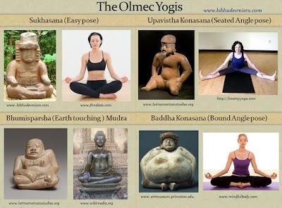 Olmecs figurines in yogic postures - Sukhasana, Upavistha Konasana, Bhumisparsha Mudra, Baddha Konasana.