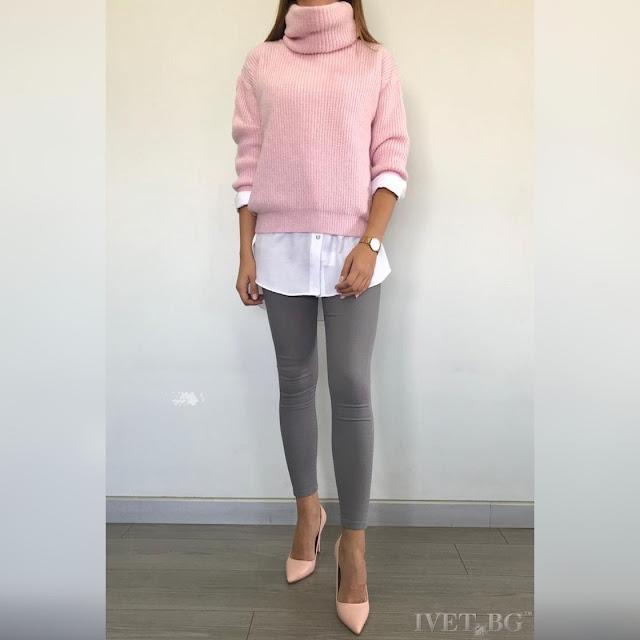 Μακρυμάνικο ροζ γυναικείο πουλόβερ ROBERTA