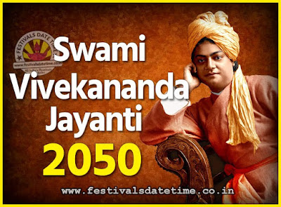 2050 Swami Vivekananda Jayanti Date & Time, 2050 National Youth Day Calendar