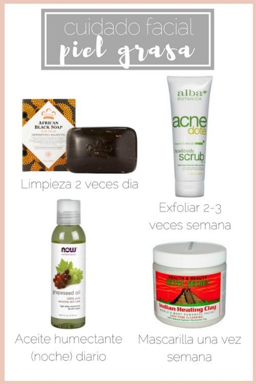 cuidado facial piel grasa productos recomendados como controlar piel grasa
