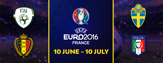 Hollywoodbets' Euro 2016 Group E Banner with Link To Group E Preview As Well As Belgium, Italy, Republic Of Ireland, And Sweden's Country Crests