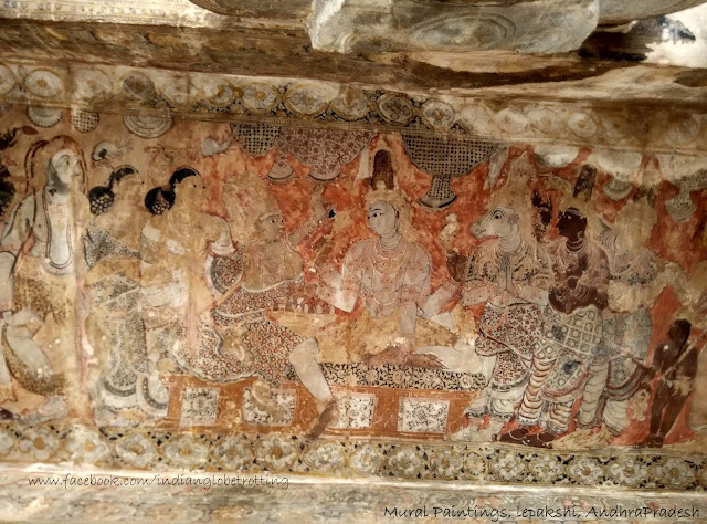 Mural paintings on the ceiling of lepakshi temple