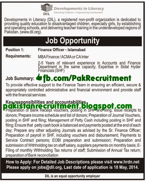 Accounts and finance jobs in islamabad rawalpindi