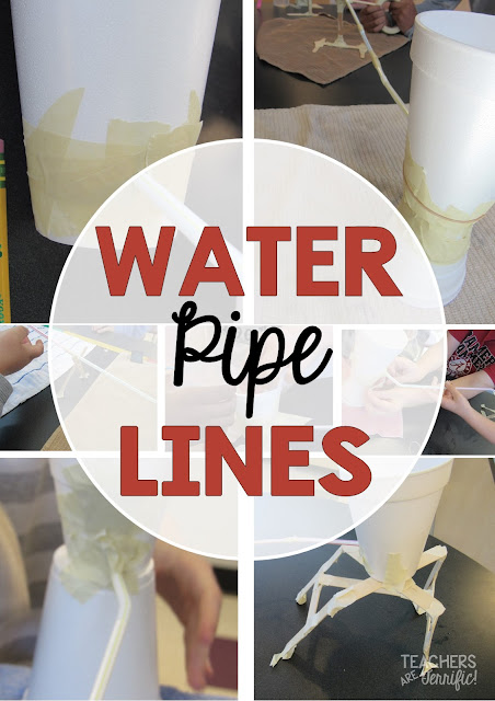 STEM Challenge: Build a pipeline to transport water? This one amazes kids as it begins to work and then creates fantastic problem solving opportunities as it starts to leak!